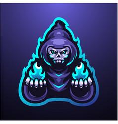 Wizard grim mascot logo design vector