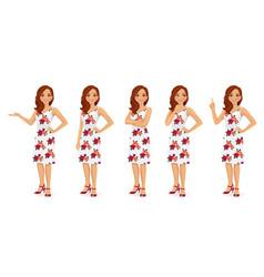 woman in dress set vector image