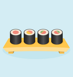 Wooden tray with sushi vector