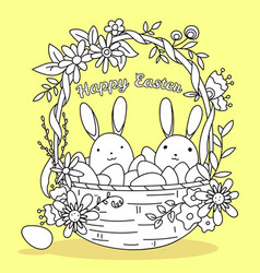woven basket with eggs and bunnies coloring page vector image