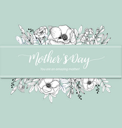 Wreath line flowers and leaves drawing style vector