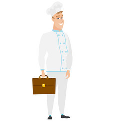 caucasian chef cook holding briefcase vector image vector image