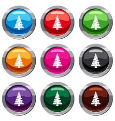 christmas tree set 9 collection vector image