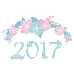numbers 2017 with blue and pink flowers vector image vector image