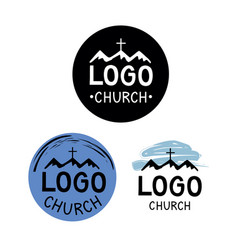 church logo with cross and mountains vector image vector image