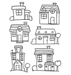house set hand draw various vector image vector image