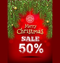 merry christmas banner sale design vector image