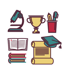 school supplies for studying lessons vector image