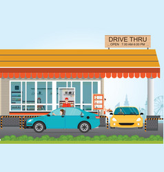 Two cars getting food at a drive thru restaurant vector