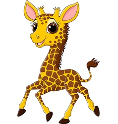 Cute giraffe running isolated on white background vector image
