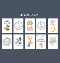 hand-drawn fairy cards vector image