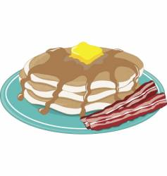 pancakes bacon vector image vector image