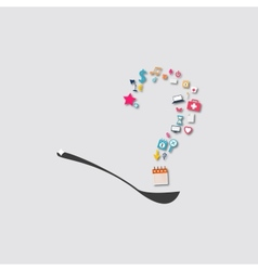 question mark on a spoon icon vector image