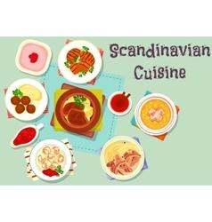 Scandinavian cuisine dish with berry dessert icon vector
