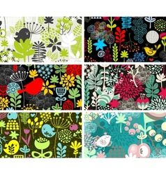 Set of six cards with birds and flowers vector image vector image