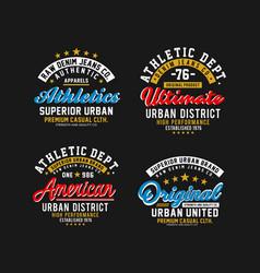 set varsity sport emblem t-shirt graphic vector image