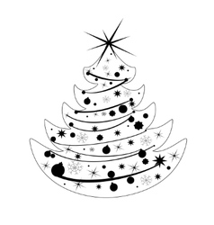 Silhouette Christmas tree vector image vector image