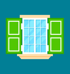 window with shutters in flat design vector image vector image