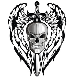 Winged Skull with sword vector image