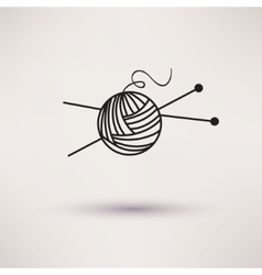 Woolen thread and needles flat design vector image