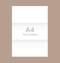 horizontal twice folded a4 paper mockup realistic vector image