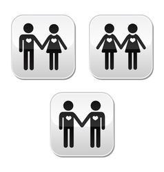 Man and woman gay and lesbian couples buttons vector image vector image
