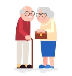 Old Couple Happy Characters Love Together Adult vector image