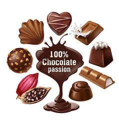 set of icons of chocolate desserts and vector image