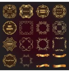 Set of vintage gold design elements-labels frames vector image
