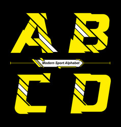 alphabet abstract yellow and white modern sport vector image