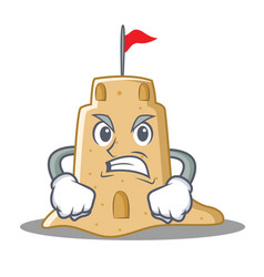 Angry sandcastle character cartoon style vector