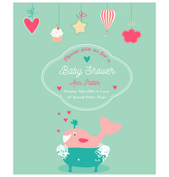 Baby shower invitation card with happy whale vector
