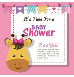 Baby shower invitation with stuffed animal vector