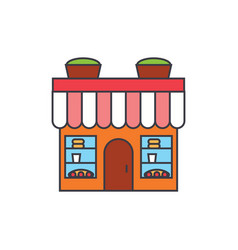 bakery building line icon concept bakery building vector image