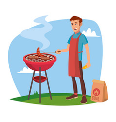 bbq cooking classic american smiling man vector image