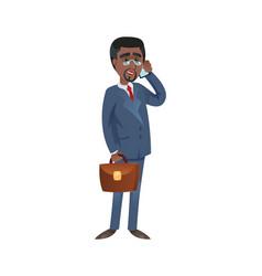 black businessman talking on phone vector image