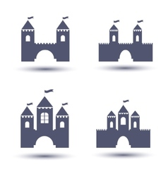 black castle icons set vector image