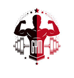 Bodybuilding and fitness sport logo templates vector
