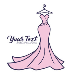 bridal wear logo wedding gown dress boutique icon vector image