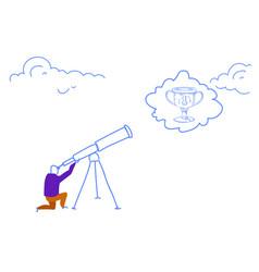 businessman looking binocular business vision vector image