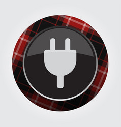 Button red black tartan - electrical plug symbol vector