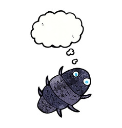 Cartoon bug with thought bubble vector