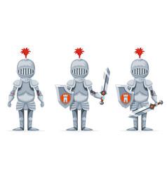 cartoon medieval knight crusader character design vector image