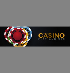 casino banner with casino chips and cards poker vector image