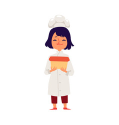 Child girl cooks in a chef robe and hat flat vector