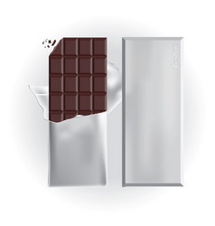 Chocolate bar with foil wrap vector