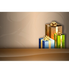 christmas background brown stripe gifts vector image