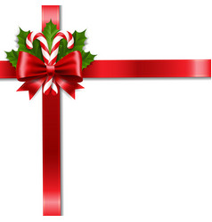 Christmas ribbon bow and holly berry with vector