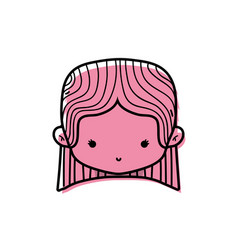 color girl head with straight hair design vector image