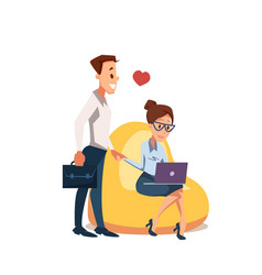 Couple in love sit in beanbag chair with laptop vector